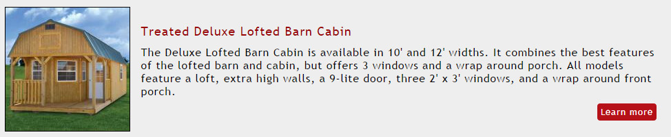 Portable Building - Treated Deluxe Lofted Barn Cabin